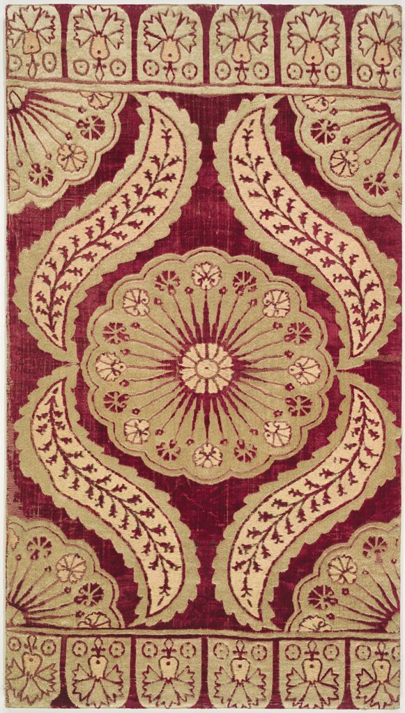 Yastik (cushion cover), early 18th century Textile Ottoman , 18th and 19th centuries Ottoman Empire, AH 680-1342 / AD 1281-1924 Creation Place: Bursa, Turkey Silk twist brocaded on red silk velvet 109.2 x 61 cm (43 x 24 in.)