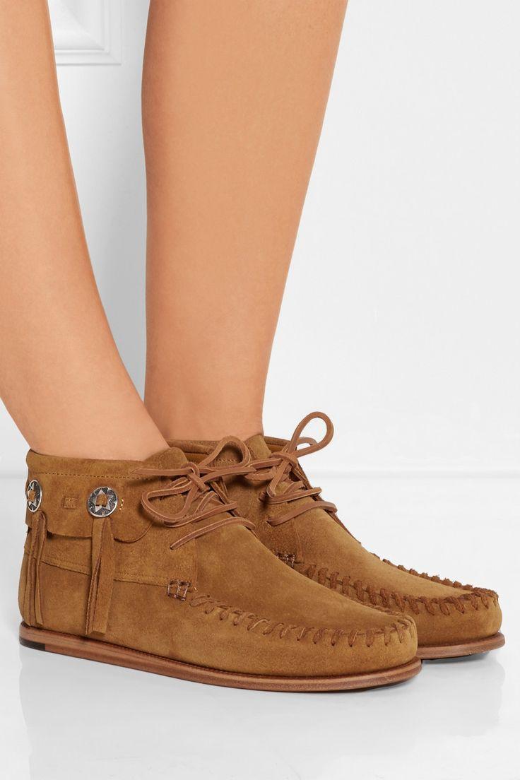Saint Laurent|Suede moccasin ankle boots|NET-A-PORTER.COM