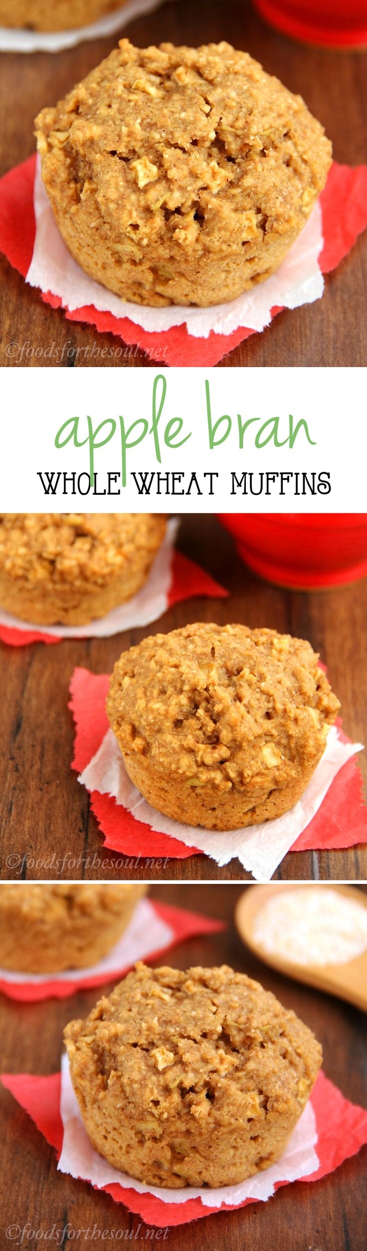 Clean-Eating Apple Bran Muffins -- one simple trick makes these the moistest bran muffins ever!