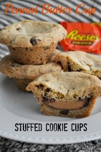 Reeses stuffed cookie cups: Cookies Dough, Cookie Cups, Stuffed Cookies, Cookies Cups, Recipe, Chocolates Chips Cookies, Sweet Tooth, Peanut Butter Cups, Cups Stuffed