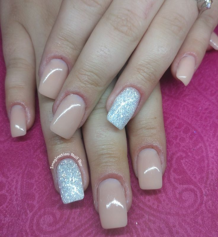 Nude nails with n touch of glitter