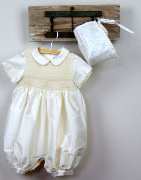 Ivory Christening baby boy romper with bonnet  by SUMACLOTHING
