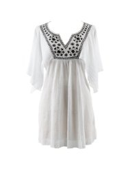 White Cotton Tunic Beach Cover Up With Black Embroidery