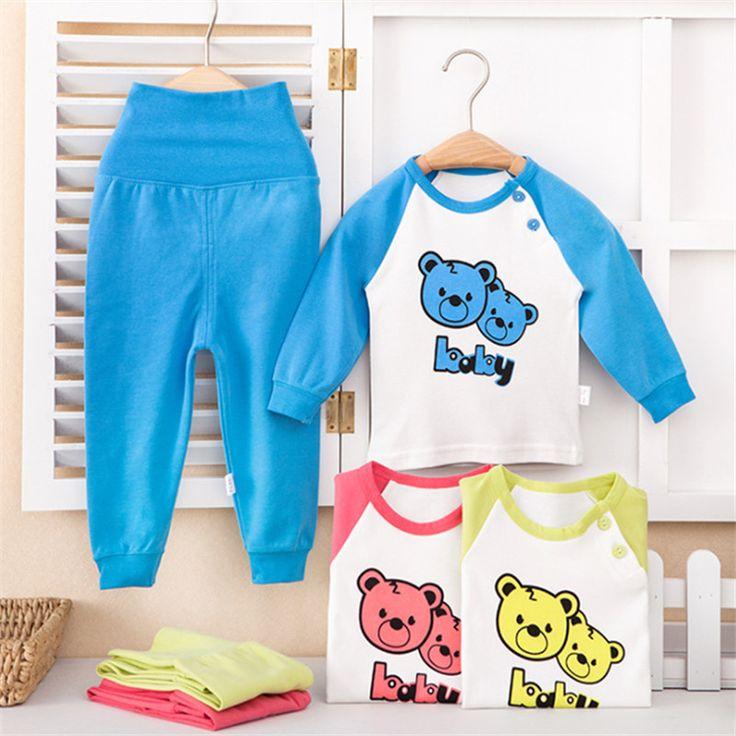 Шаблон горячей медведь термобелье для детей хлопок детской одежды установить кальсоны костюм для ребенка утолщение детской одежды