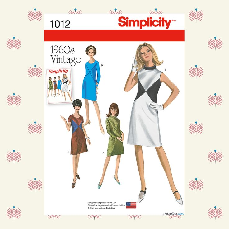 Vintage 1960's Simplicity Sewing Pattern S1012 Misses' & Miss Plus Dresses - WeaverDee.com