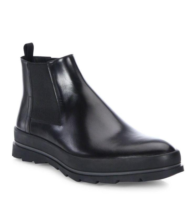 Prada Leather Chelsea Boots Nero               $159.00