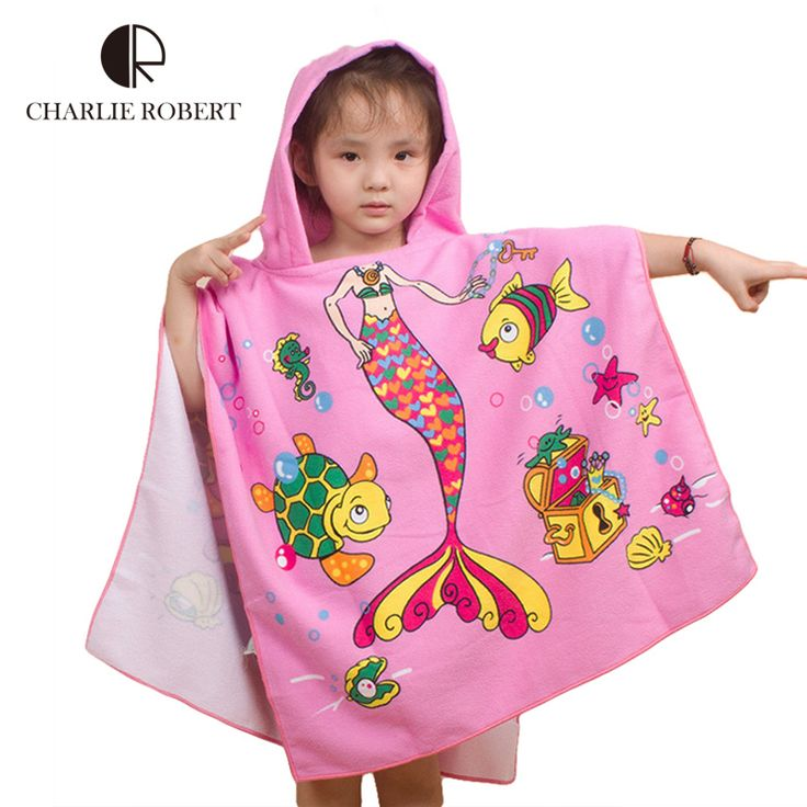 New Children Beach Towel 120*60cm Kids Hooded Cloak Cartoon Baby Boys Girls Towel Bibulous Towel For Children Serviette De Bain