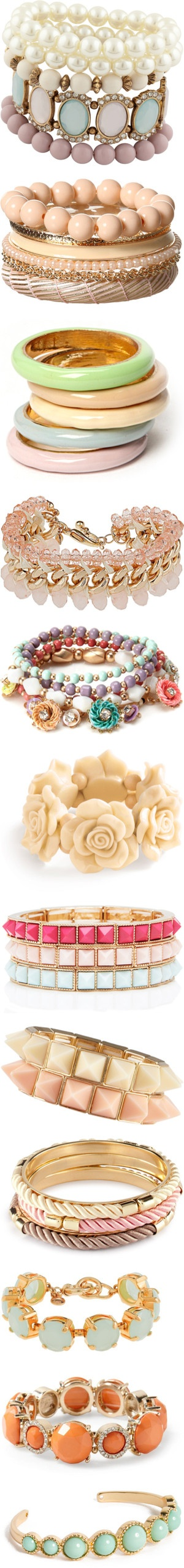 Pastel color jewelry is the 'must need' for this spring. I suggest layering the jewelry to show off your unique style!