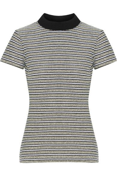 Proenza Schouler - Ribbed Jersey-trimmed Striped Cotton-blend Bouclé Top - Off-white