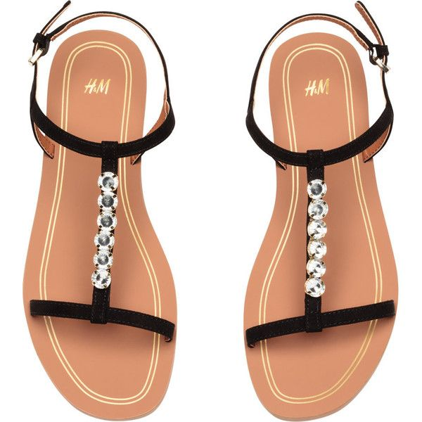 Sandals with Rhinestones $24.99 (£19) ❤ liked on Polyvore featuring shoes, sandals, ankle strap shoes, rubber sole sandals, rhinestone sandals, black rhinestone sandals and black shoes