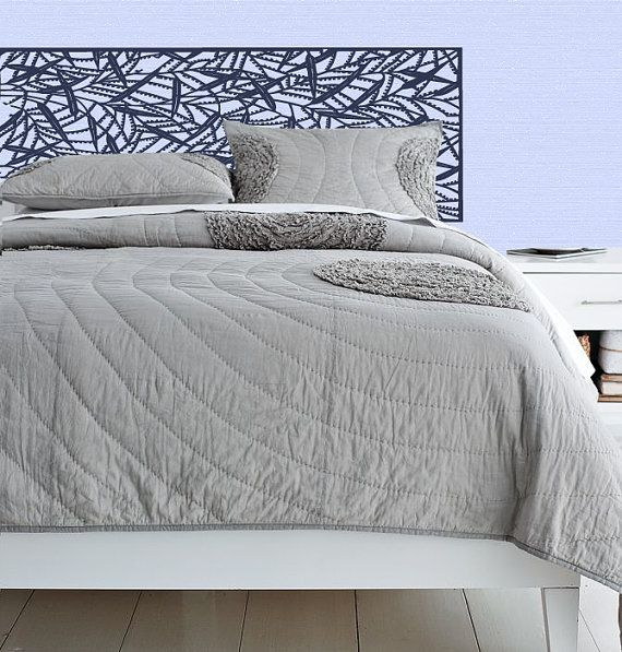 headboard wall decal | King Headboard decal - Vinyl wall sticker decal - Leaf Pattern