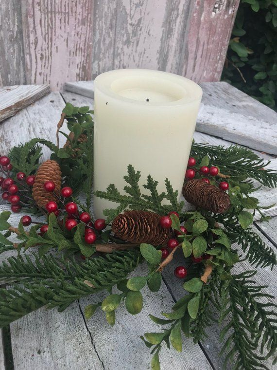 12 Christmas Evergreen Candle Ring Christmas Candle Ring Holiday Candle Ring Table Arrangement Candle Candles Christmas Candle Rings Christmas Centerpieces