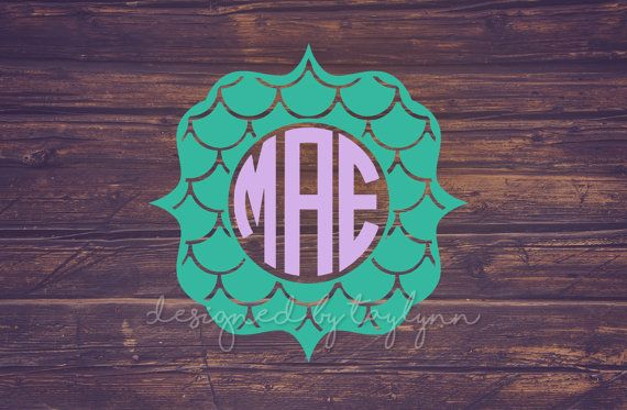 Mermaid Scale Monogram, Mermaid Decal, Yeti Decal, Car Decal, Mermaid Monogram, Decals, Monograms, Monogram Decals,…