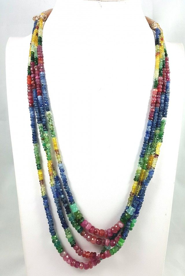 327 CT 4 LINE RUBY , EMERALD , SAPPHIRE FACETED BEADS NEACKLACE 4X4X3MM FASHIONABLE BEAD NECKLACE