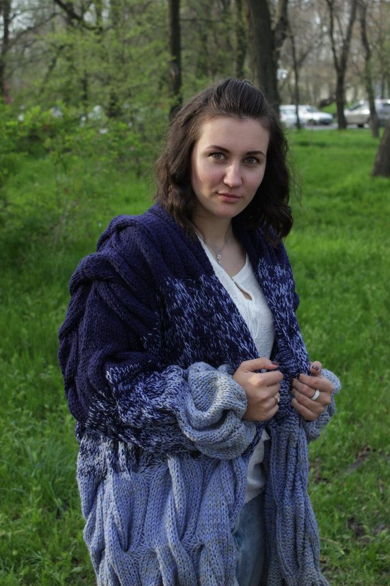 Cardigan Lalo knitted spokes the gradient of braids no