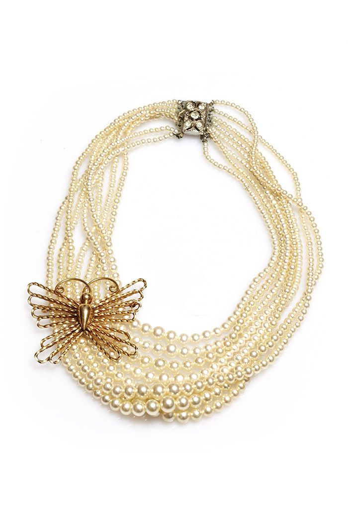 Oh look at this butterfly. Handmade necklace from vintage pieces. Butterfly on Pearls by Ophelia Blaimer