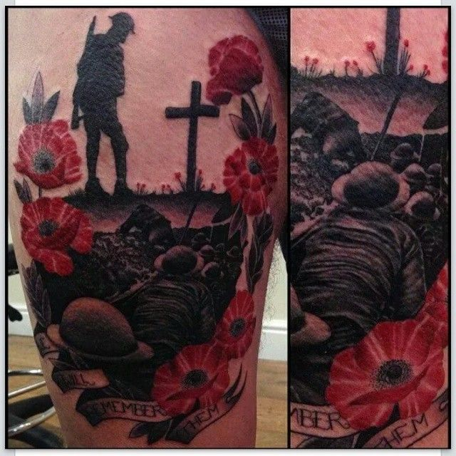 Remembrance day tattoo by Lauren Gow #RemembranceDay #Poppy #Tattoo
