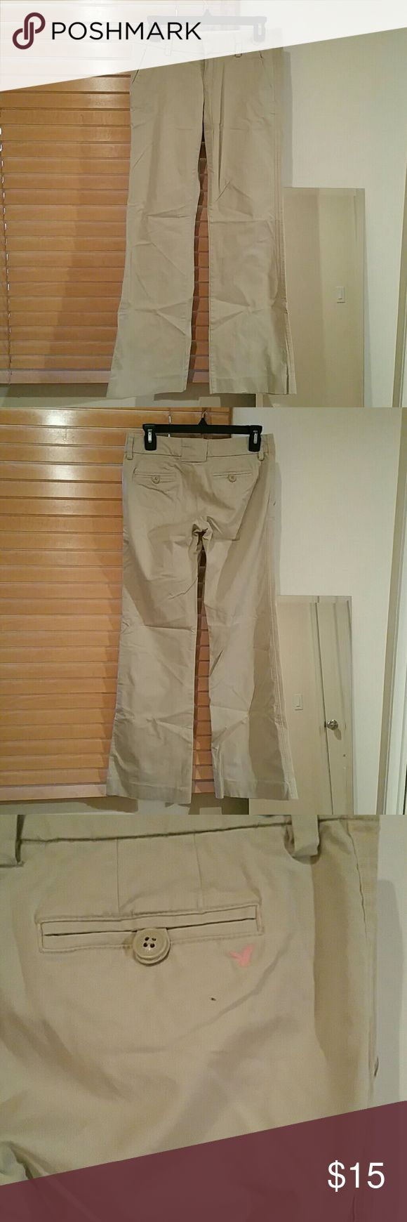 American Eagle Khaki Pants American Eagle Khaki Pants. Wide and straight legged khaki pants perfect for semi formal affairs and presentations. American Eagle Outfitters Pants Trousers
