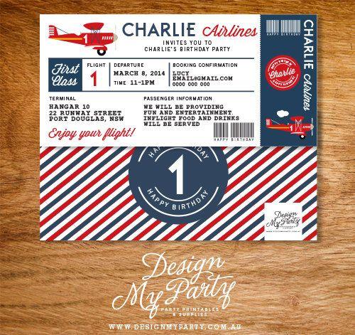 Airline Plane Ticket Birthday Invitation by DesignMyPartyShop