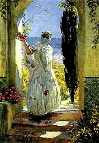 Algérie - Peintre Français, Léon CAUVY (1874-1933), Aquarelle sur papier 1916, Titre : La cueillette des roses.