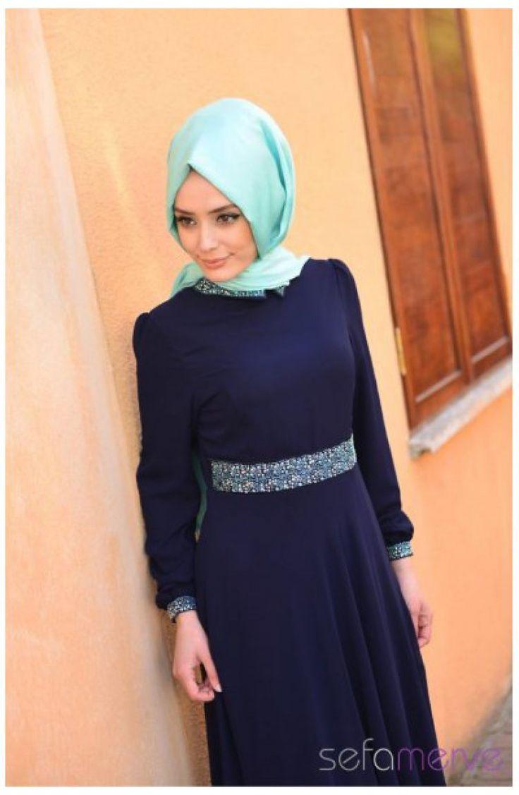 2014 Yazlık ZRF Tesettür Elbise 9044T-01 Lacivert