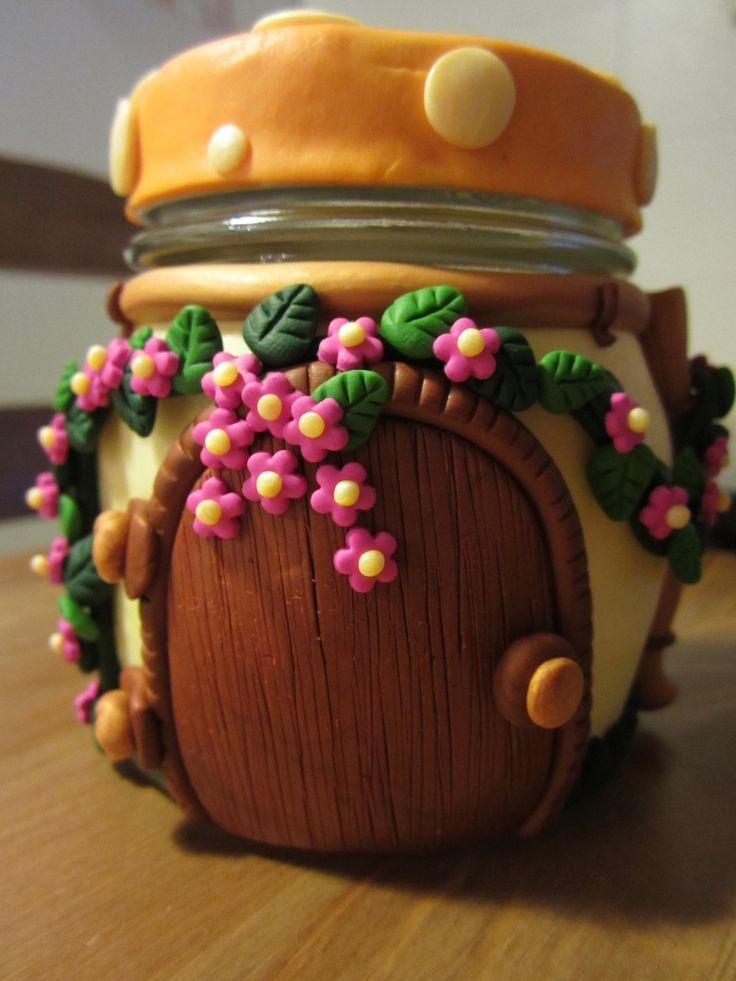 Polymer Clay Covered Fairy House Jar