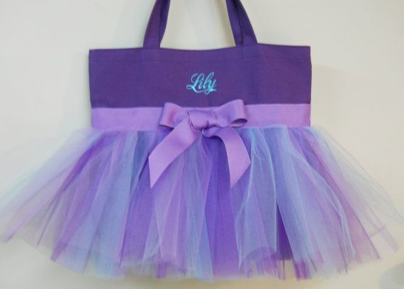 Embroidered Purple Tote Bag with Purple Aqua and by naptime21