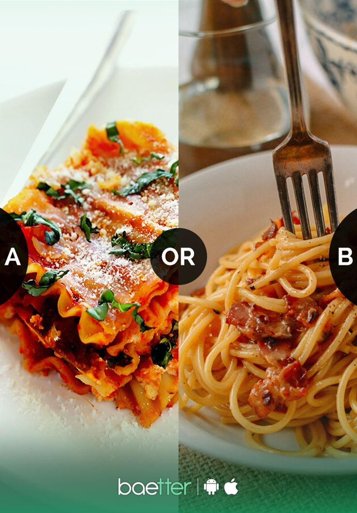 Which Pasta dish do you love #lasagna or #spaghetti ? Vote for your favorite on BAEtter App.