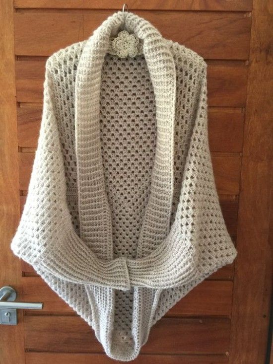 Long Sleeved Crochet Granny Shrug Cocoon - find a free pattern on our site                                                                                                                                                      More