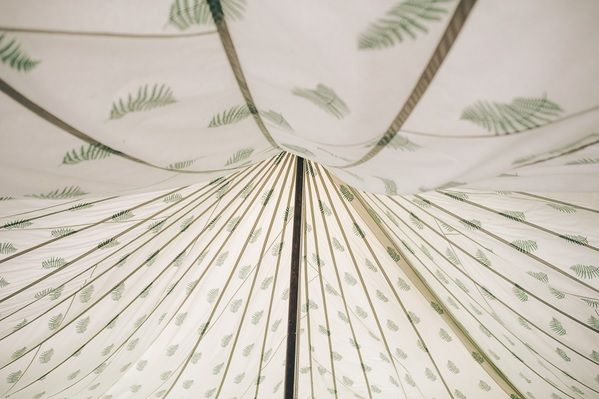 LPM Bohemia Fern Roof Lining within a Traditional Canvas Pole Tent.