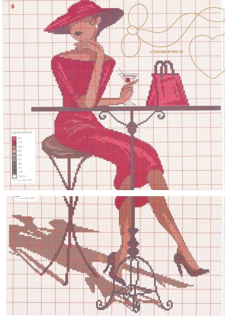 0 point de croix femme elegante buvant un martini - cross stitch elegant lady…