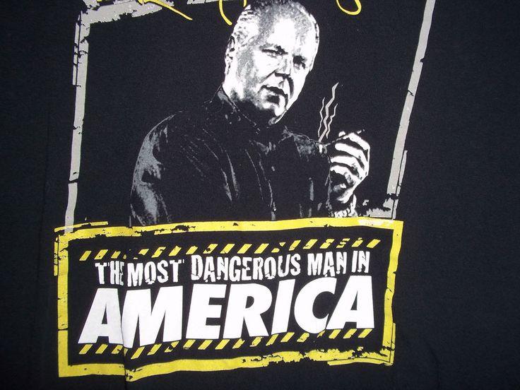 Rush Limbaugh Show Most Dangerous Man America Dittohead Nation Black T-Shirt XL #Gildan #GraphicTee