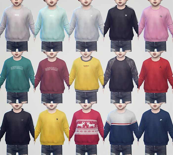 """KK Sweatshirts 02 for Toddler • Boy & Girl / Adult Ver. [HERE] • My mesh / All morphs / All LODs • Custom thumbnails • 15 Color """"✔ Do not re-upload or re-edit. All my CC. ✔ Do not claim to own. ✔ Do..."""