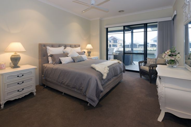 Master bedroom with custom made bed head