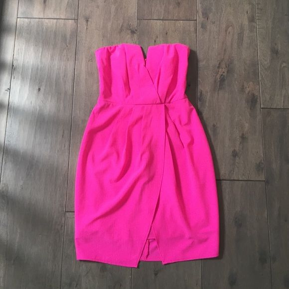 Neon pink dress Strapless, neon pink, hot pink mini dress with front slit. Lovecat Dresses Mini