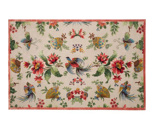 Known as the most complex design the Rug Company has ever produced, Paul Smith's hand-knotted Tibetan wool and silk Oriental Birds carpet dazzles with its bright floral pattern.