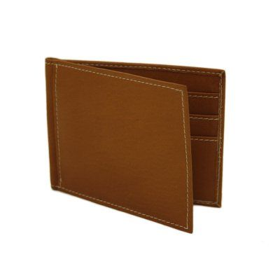 Piel Leather Bi-Fold Money Clip Wallet - Saddle - 2858