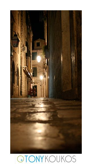 alleyway, lanterns, night, dubrovnik, croatia, europe, travel, photography, art, Tony koukos, places