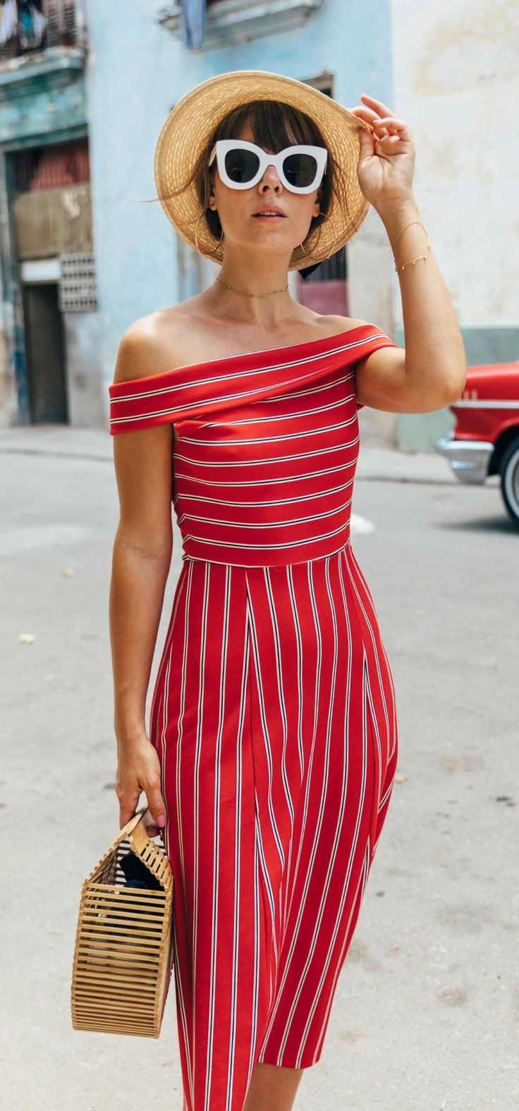 #summer #outfits Round Hat + Red Striped Off The Shoulder Dress + Wood Clutch