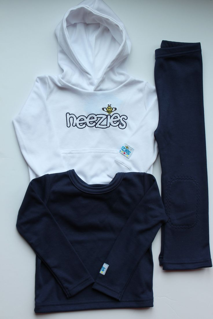 Neezies navy and white - classic for all seasons. Pants have padded knees! www.neezies.com