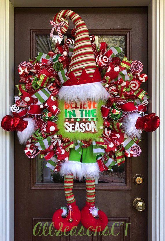 Believe In the Season Elf Deco Mesh Wreath, Elf Wreath, Christmas