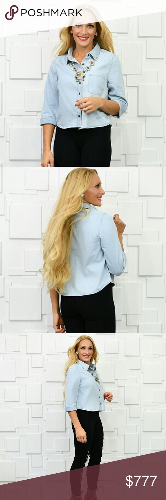 CLASSIC DENIM TOP Brand new  Boutique item  Price is firm  Chic and classy denim top. Approx 3/4 sleeves and button down front. Pair with our black shag vest and tan pants for a complete look!!  True to size. Necklace, pants and vest are available in my boutique . . Tops