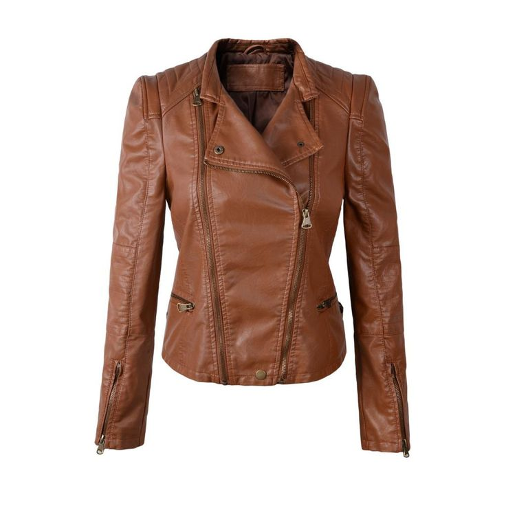 Women Motorcycle Faux Leather Jacket, Black, Brown