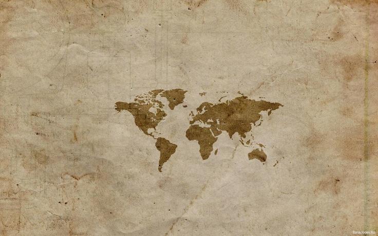 обои Карта мира на бумаге фото