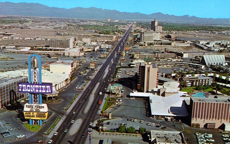 Las Vegas Strip, 1967 looking towards E Desert Inn Dr.Hotel Last Frontier, opening in 1942 at 3120 Las Vegas Blvd S, was the second resort on the strip. After a run as New Frontier Hotel it was razed in 1965. In it's place, Frontier (owned by Howard Hughes's Summa Corp 1967-1988). Frontier closed and was demolished in 2007. ✿❀