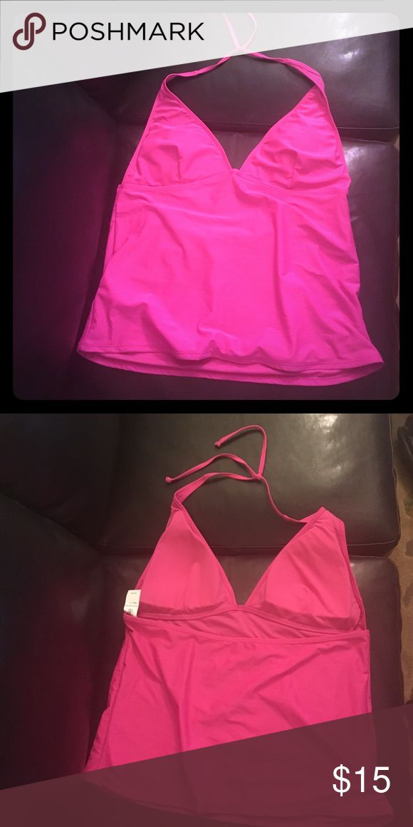Bright pink tankini top! Bright pink deep V halter tankini top! Brand new with tag! Old Navy Swim Bikinis