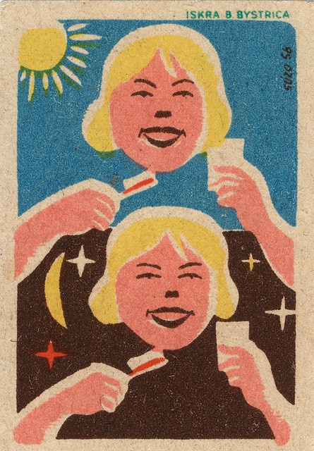 Brushing Teeth Russian #matchbox label. To order your Business' own Branded #matchbooks or #matchboxes GoTo: www.GetMatches.com or CALL 800.605.7331 TODAY! Check out our Blog kingmatch.wordpress.com