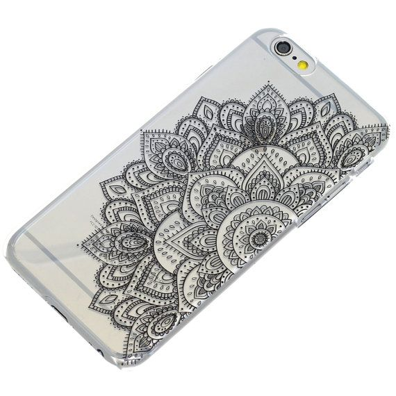 Half Black Mandala Henna Transparent Clear Phone by ClashCases