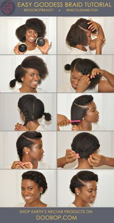 Easy short Natural Hair How-To: Goddess Braid with Earth's Nectar Hair Care.