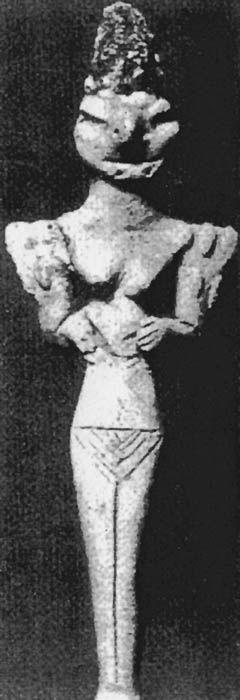 """Žena z Uru"""", konec první poloviny 4. tisíciletí př. n. l., pozdně obejdské období, keramika, výška 14 cm, naleziště: Ur v jižní Mezopotámii, dnešní Irák, uloženo: British Museum, Londýn, Anglie."""
